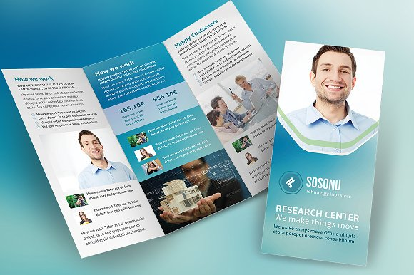 Clean Business Trifold Brochure Brochure Templates Creative Market - Business tri fold brochure templates