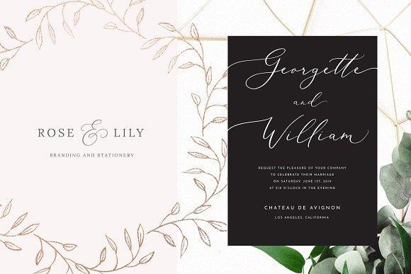 Wedding Calligraphy Fonts.White Garden Calligraphy Logo Font
