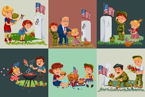 Senior man with children in military cemetery near grave with white monument to veteran, family boy and girl memory and remember war heroes, American flag tokens vector illustration