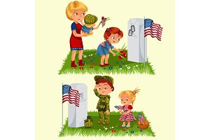 Memorial Day, mother with child on cemetery, little girl lays flowers on grave, family Wife with children honoring memory fallen heroes, military tokens and us flag vector illustration