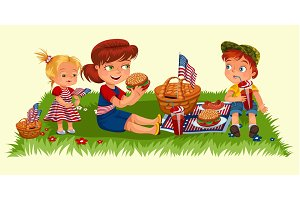 Mother with two children sitting on green grass in park or garden, picnic basket with food and american flags, woman and boy eating burgers in nature and drinking soda, girl enjoying holiday vector illustration