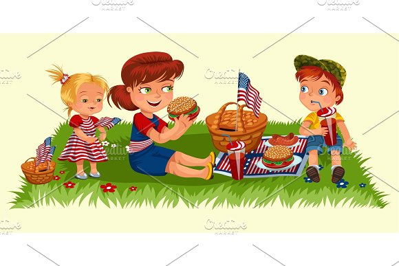 Mother With Two Children Sitting On Green Grass In Park Or Garden Picnic Basket With Food And American Flags Woman And Boy Eating Burgers In Nature And Drinking Soda Girl Enjoying Holiday Vector Illustration