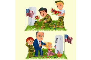Memorial Day, adult man with children in military cemetery near grave with white monument to veteran, family boy and girl memory and remember war heroes, American flag tokens vector illustration