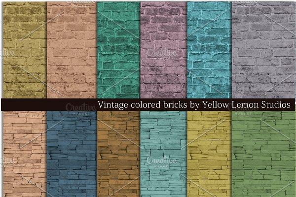 Vintage colored brick rock wall