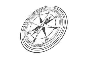Black wind compass