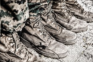 Combat boots in the desert