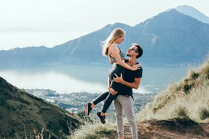 Couple travel in volcano