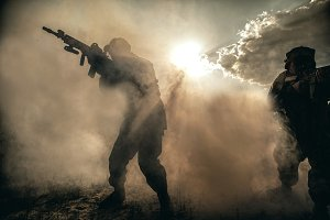US Marines in action. Desert heat