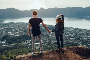 Young couple posing in volcano