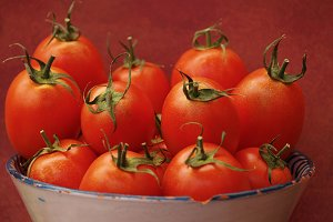 Ripe tomatoes on a old tray