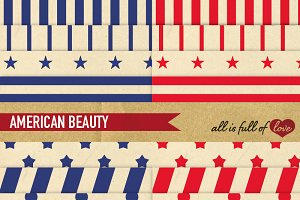 -20% American Red Blue Patterns Pack