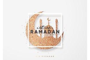 Ramadan greeting card with arabic calligraphy Ramadan Kareem.