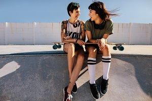Female friends in skate park