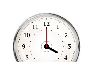 Realistic clock face showing 04-00