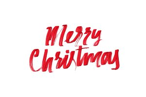 Merry Christmas vector text calligraphic.