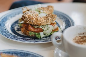 Bagel with salmon and cucumber