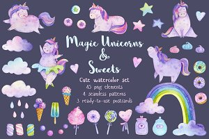 Watercolor Magic Unicorns & Sweets