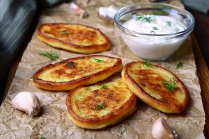 Mashed Potato Fritters with Sour Cream