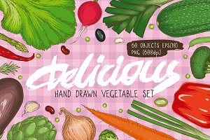 Delicious Hand Drawn Vegetable Set