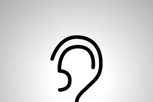 Simple black human ear icon