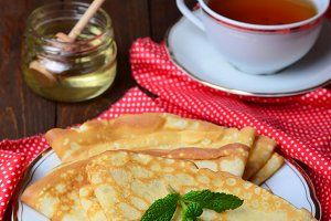 Delicious Pancakes with honey