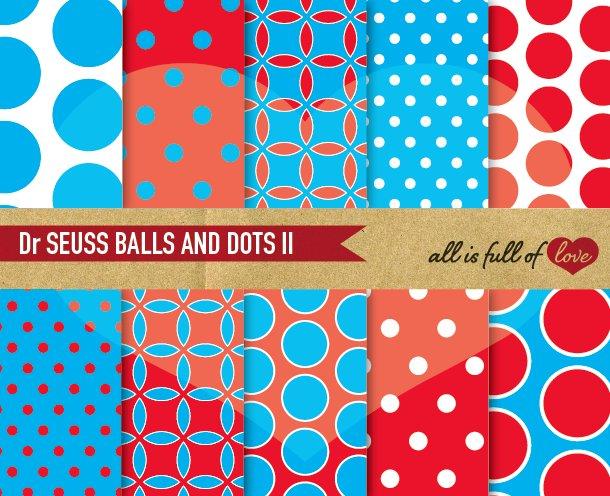 Dr Seuss Digital Paper Blue Red ~ Graphic Patterns ~ Creative Market