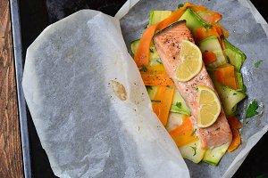 Salmon Baked In Parchment Paper