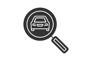 Magnifying glass with car glyph icon