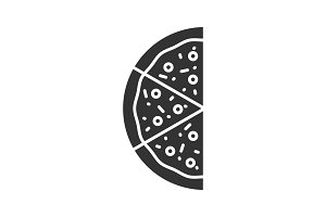 Half of pizza glyph icon