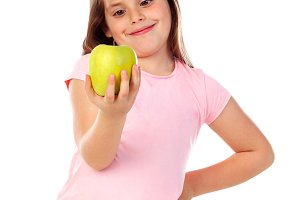 Happy child with a apple