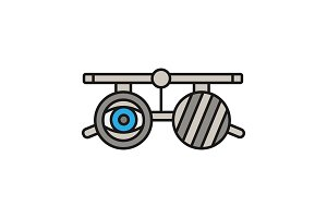 Eye exam glasses color icon