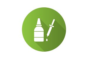 Eye drops and dropper flat design long shadow glyph icon
