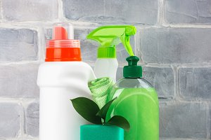 Bio organic natural cleaning supplies. Save the planet concept