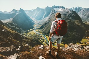 Hiking alone in Norway mountains Man