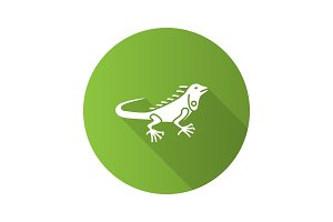 Iguana flat design long shadow glyph icon