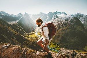 Man skyrunning in mountains