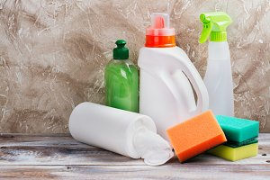 Spring cleaning of house. Cleaning supplies set