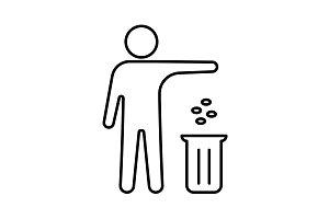 man throwing garbage in a bin