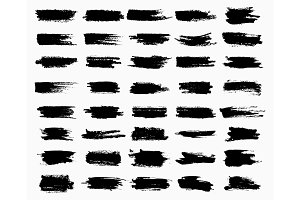 Horizontal black ink scratches or brush watercolor