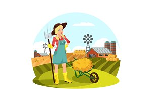 Woman with pitchfork in front of field with hay
