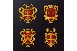 Vintage victorian shields with crown