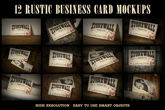 12 rustic business card mockups product mockups - Rustic Business Cards
