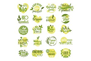 Set of isolated bio product logo, vegetarian food