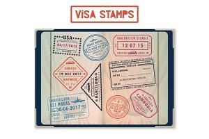 Visa stamps for USA and Korea, Georgia and France