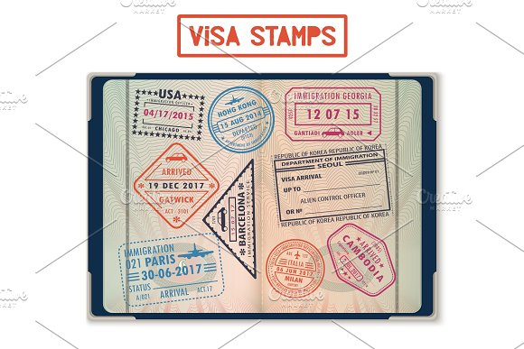 Visa Stamps For USA And Korea Georgia And France