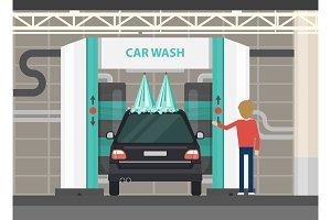 Car wash center full and self service facilities