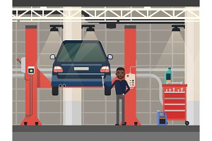 Car repair or diagnostic.Vehicle at lift, elevator