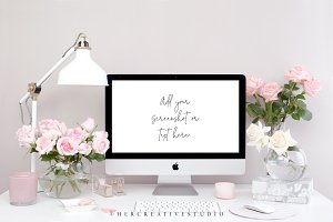 Computer Mockup, Pink & White Roses
