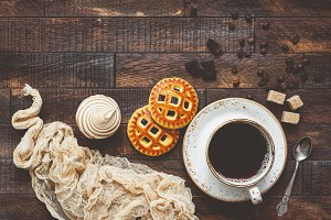 Coffee and cookies, food background
