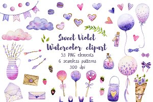 Sweet Violet Watercolor Clipart